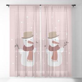 Snowman Pink Snow Sheer Curtain