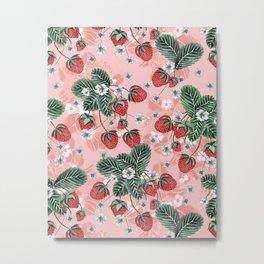 Cute Strawberry Pattern Metal Print