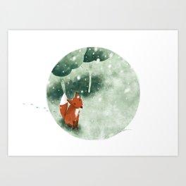 Fox in the snow Art Print