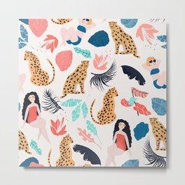 Summer Girls & Cheetah Pattern Metal Print
