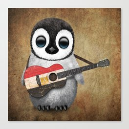 Baby Penguin Playing Egyptian Flag Acoustic Guitar Canvas Print