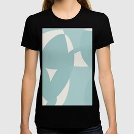 Abstract in dusty light blue and neutral shades T-shirt