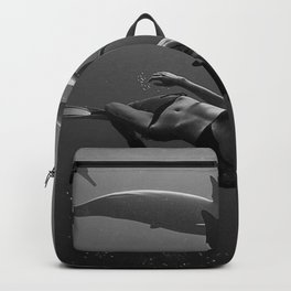 Swim with the Dolphins inspirational nautical black and white photography - photographs Backpack