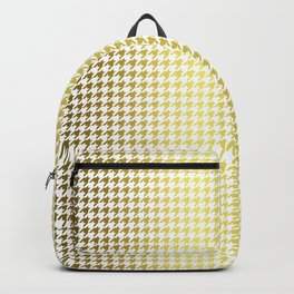 Gold Foil & Bright White Houndstooth Check Pattern Backpack