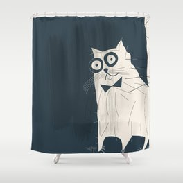 White Fashionable Cat Shower Curtain
