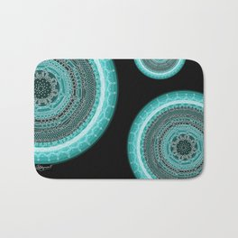 Knowing on Black Background Bath Mat