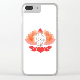 Cute Buddha on a sacred lotus Clear iPhone Case