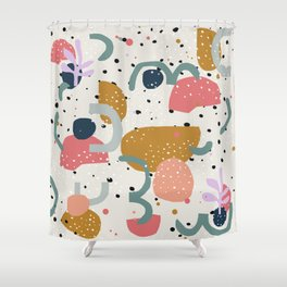 Abstract colorful print and figures design Shower Curtain