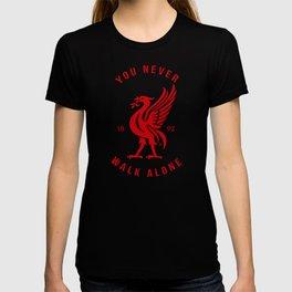 Liverpool FC Red on Black Logo YNWA T-shirt