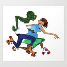 Rollerskating Monsters Art Print