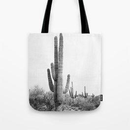 Desert Cactus BW Tote Bag