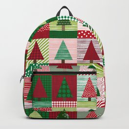 Christmas tree forest quilt pattern cute red and green holiday gifts Backpack