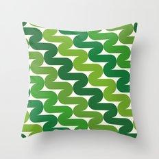 Green retro pattern Throw Pillow