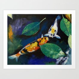 Koi and Banyan Leaves Art Print