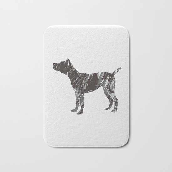 black dog Bath Mat