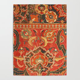 Red Arabic Rug I // 17th Century Colorful Firey Red Light Teal Sapphire Navy Blue Ornate Pattern Poster