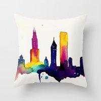 chicago Throw Pillows featuring Chicago  by Talula Christian