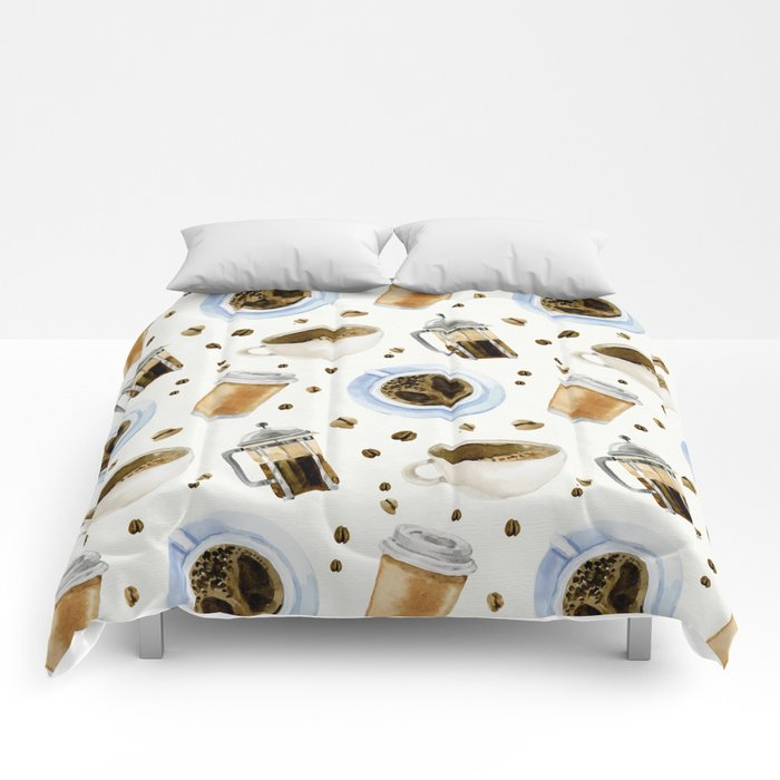 Coffee watercolor pattern with grains coffee Comforters