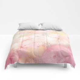 Watercolor Pink Floral Background Comforters