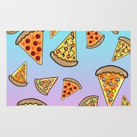 pizza Area & Throw Rugs featuring PIZZA by SteffiMetal