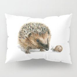 """Close Encounter"" painting of a Hedgehog and Snail by Teresa Thompson Pillow Sham"
