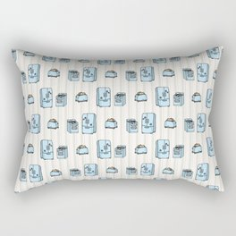 Cute refrigerator and stove. Hand drawn kitchen appliance for household domestic technology. Cooking hob and cold fridge on stripe. Home cooking equipment. Rectangular Pillow