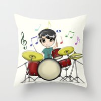 chibi Throw Pillows featuring Chibi Drummer by Jelo