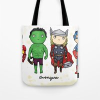 super heroes Tote Bags featuring Super Cute Heroes: Avengers! by Kayla Dolby