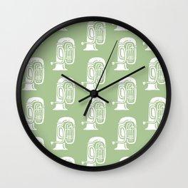 Tuba Pattern Sage Green Wall Clock