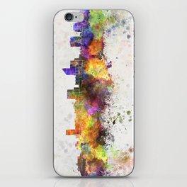 Wichita skyline in watercolor background iPhone Skin