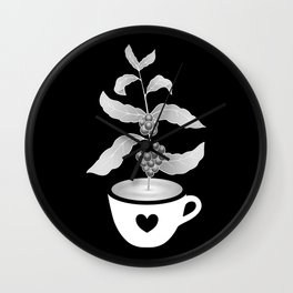 Coffee cup with Coffee plant Black Wall Clock