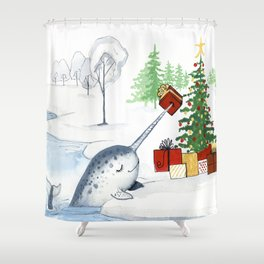 Christmas Narwhal Shower Curtain