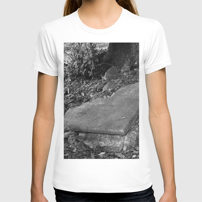 broken old grave on the green T-shirt