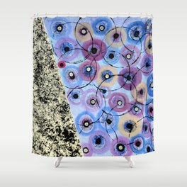 Circles and Flowers- Blue Shower Curtain