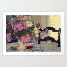 Still Life -- Cottage Table with Floral Centerpiece of Dahlias, Cosmos, Wildflowers Art Print
