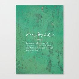 Moxie Definition - White on Green Texture Canvas Print