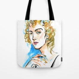 portrait of a woman with curly blond hair and green eyes Tote Bag