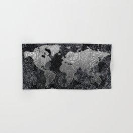world map mandala black and white 3 Hand & Bath Towel