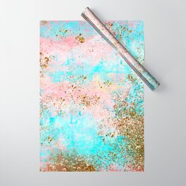 Pink and Gold Mermaid Sea Foam Glitter Wrapping Paper