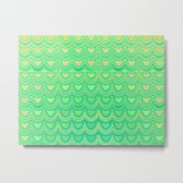 Mermaid Scales Yellow Green Metal Print