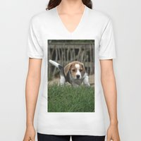 puppies V-neck T-shirts featuring Beagle puppies by Martina Berg
