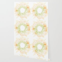 Tangerine and Olive Flowery Linocut Wreath Wallpaper