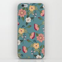 vintage floral iPhone & iPod Skins featuring Floral Vintage by Juliana Zimmermann