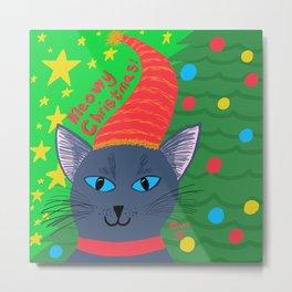 Christmas Cat Blue-Grey short hair blue eyes Metal Print