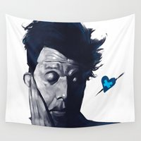valentines Wall Tapestries featuring Tom Waits - Blue Valentines by Brad Collins Art & Illustration
