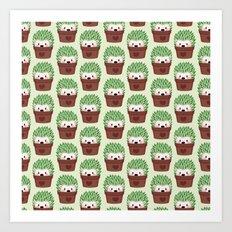 Hedgehogs disguised as cactuses Art Print