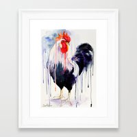 rooster Framed Art Prints featuring Rooster  by Slaveika Aladjova