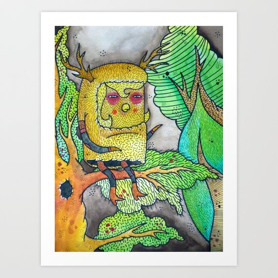The Lonely Little Night Owl Art Print