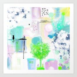 Peinture  tons pastels chat oiseau maisons arbre bulles Art Print