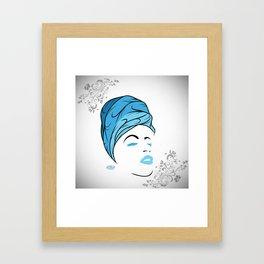 Lady Wrap (blue) Framed Art Print